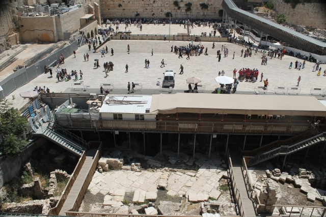 Adjust the angle down a bit and we see some of the excavations that lead up to the foundations of the Western Wall, below the level of today's plaza. (Photo by Luke Chandler)
